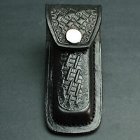 "Black Basketweave Heavy Duty Folding Knife Sheath Fits 3 1/2"" to 4 1/2"" Knife"
