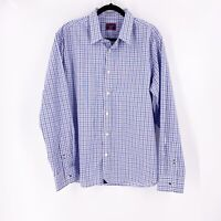 Untuckit Mens Wrinkle Free Pio Cesare Shirt Size XL Blue Gray Check Long Sleeve