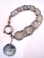 Antike Taschenuhr Kette Silber Münzen Russland Norwegen Schweden Pocket Watch