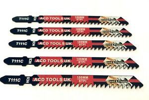 5 x T111C Jigsaw Blades for Metal to fit Bosch, DeWalt, Makita