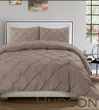 Hudson 3 Piece Pintuck Comforter Set Luxurious Pinch Pleat Oversized Bedding
