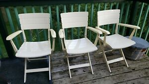 Vintage French designer Cafe STURDY patio folding resin patio lawn DECK chair