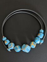 Vintage memory Wire Choker Necklace With Blue & Gold Ceramic Beads