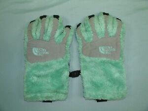 Girls Medium M The North Face Fuzzy Gloves Warm Winter Kids Turquoise Green Etip