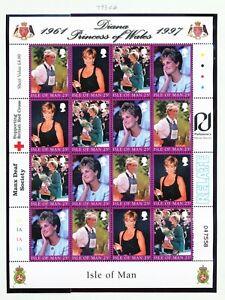 ISLE of Man - # 813/6, Sc 793 S/S of 16 - VF MNH - Princess Diana - 1997