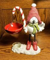 Yankee Candle Snow Bird Christmas Candy Cane Hanging Tart Warmer RARE RETIRED