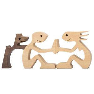 Family Puppy Wood Dog Craft Figurine Desktop Ornament Carving Model Home DecHF