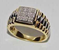 Para hombres 9 Ct Amarillo Oro En Plata Anillo Rolex 0.10ct - Tamaño T