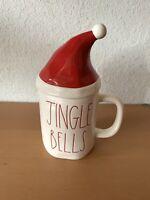 """Rae Dunn Christmas """"JINGLE BELLS"""" Mug With Santa Hat Topper Holiday By Magenta"""