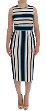 NEW $1900 DOLCE & GABBANA Dress Blue White Striped Silk Stretch Sheath IT38 /US4