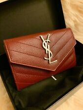[NEW] YSL Saint Laurent monogram quilted leather envelope wallet-Burgundy RED