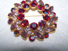 Vintage Designer Lg Wreath Brooch w AB Red and Lt Violet Rhinestones - G18