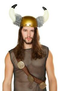 ADULT sexy ROMA men's FAUX fur HORNED viking HELMET horns HAT costume ACCESSORY