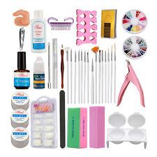Nail Art Kit Sets UV Gel Cuticle oil Cleanser plus Side Clipper Nail Glue Tools