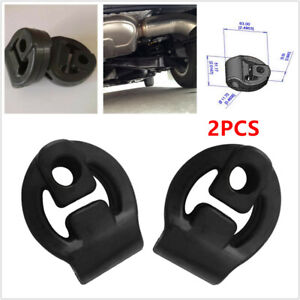 2Pcs Car SUV Truck Rubber Exhaust Tail Pipe Mount Bracket Hanger Insulator Black