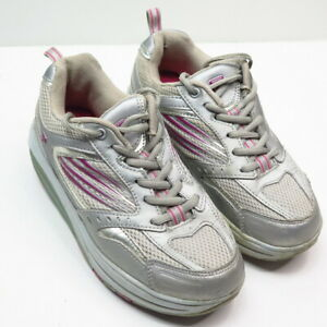 FILA Fit Sneakers Walk N Sculpt Shoes Size 6.5 Gray Pink Shape Up Fitness