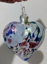 """Glass Eye Studio 3"""" Confetti Heart Ornament - Christmas Tree Unique Art Glass"""