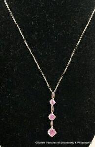 Sterling Pink CZ Necklace