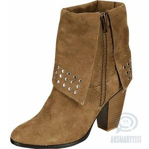 Womens Ankle High Fashion Boots Taupe Round Toe Studded  Booties Heels AU Size