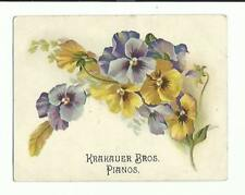 Old Trade Card Krakauer Bros Pianos Pansies WD Keeny Manheim NY