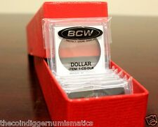 25 Assorted 2x2 Snaplock BCW Coin Snap Holder & Red Single Row Storage Box 9x2x2