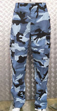 "Midnight Blue Camo Military Style Combat Cargo Trousers - 24""-28"" - NEW"