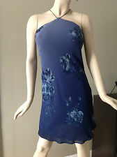 Max Studio Floral Dark Blue Halter Dress by Leonmax Size M