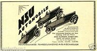 NSU Automobile Cabrio Reklame von 1925 Neckarsulm Werbung car ad