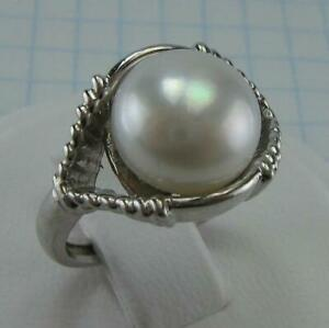 925 Sterling Silver Ring Band US size 5.75 Freshwater Pearl 10.2mm White Big 861