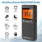 Mini AM FM Portable Speaker With Headphone Alarm Emergency Weather Pocket Radio