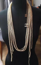 NEW AND BEAUTIFUL NEW CHANEL A14K SIX STRAND PEARL LONG CC CHAIN NECKLACE