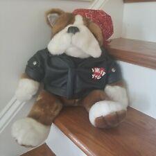 "Dan Dee Collectors Choice Biker Bulldog Plush Faux Leather Jacket Bandana 18"""