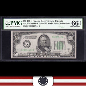1934 $50 CHICAGO FRN Federal Reserve Note  PMG 66 EPQ  Fr 2102-Gdgs G06951426A