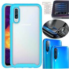 For Samsung Galaxy A50 Shockproof Armor Clear Cover Case+Camera Lens Protector