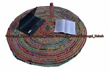 Indian cotton craft chindi round recycled area rug handmade braided reversible