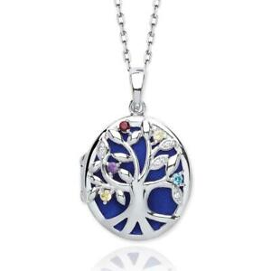 Sterling Silver Tree of Life Oval 2 Photo Locket With Multi Coloured Cz Stones