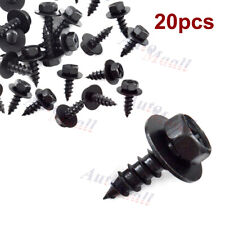 20pcs Black Metal Car Body Fender Bumper Retainer Clips Screw Hex Head Washer