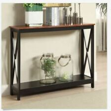 narrow table center console open sofa tall slim entryway small wood cherry black