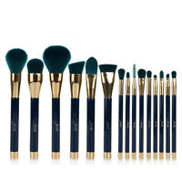 Jessup 15pcs Makeup Cosmetic Brushes Set Powder Foundation Eyeshadow Blush Green