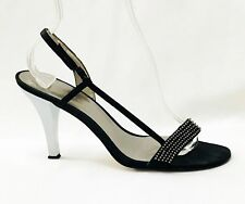 Calvin Klein Sandals Strappy Black Satin Rhinestones Silver Heels size 8.5