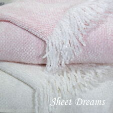 Churchill Weavers Handwoven Pink Cotton Rayon Chenille Baby Blanket New Tags