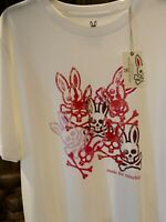 NWT Psycho Bunny Men's XL White Hallam Bunny Graphic Made For Mischief T-Shirt