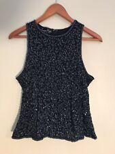 Laurence Kazar Black Sequined Sleeveless Blouse, Measures Size L