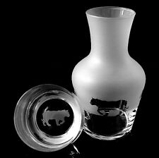 More details for tiger carafe water set with matching engraved glass... boxed.