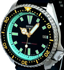 Vintage mens watch SEIKO diver 7002 'FAT-MERCEDES' mod w/MINT GREEN Chapter Ring