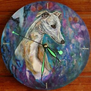 Wooden wall clock with greyhound/whippet painting. Whippet art