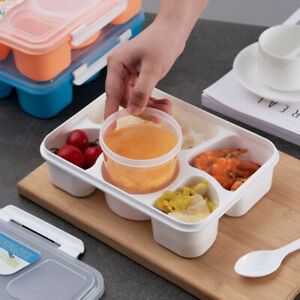 5 Compartments Lunch Box Food Container Bento Storage Boxes For Kids Adults UK