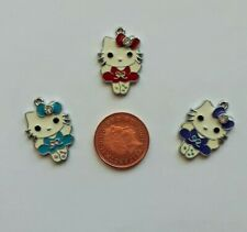 3  Hello Kitty coloured enamel pendant charms choice of designs