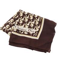 Christian Dior Logos Trotter Silk Scarf Wraps Brown Vintage Authentic #CC643 W