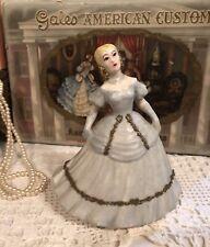 Vintage Kleine Co. Porcelain Southern Belle Blue Dress Figurine Applied Gold